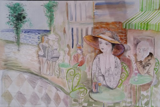 Jacob GILDOR - Drawing-Watercolor - Cafe in South of France