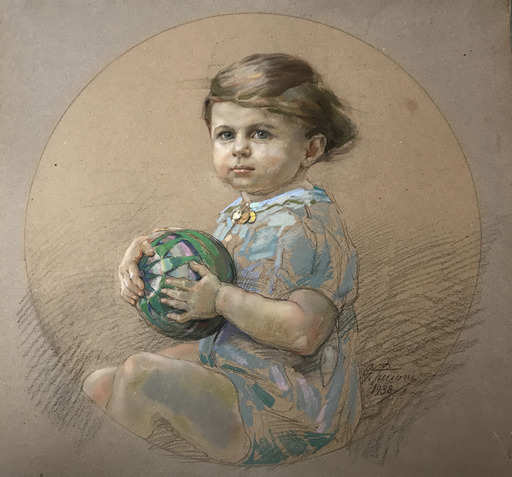 Gino PICCIONI - Peinture - Ritratto di fanciullo
