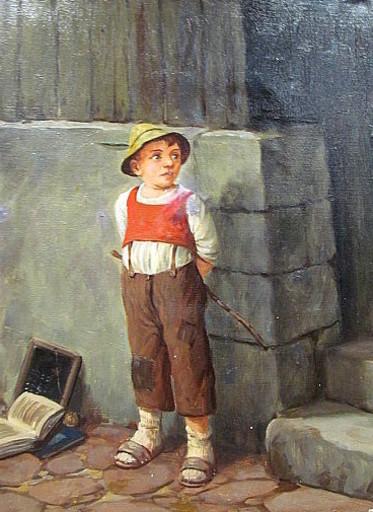 Hans FENGER - Pittura - Schuljunge mir roter Weste und Hut.