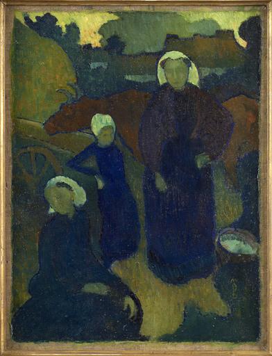 Maurice DENIS - Painting - Les Bretonnes (recto) Etude pour un portrait d'homme (verso)