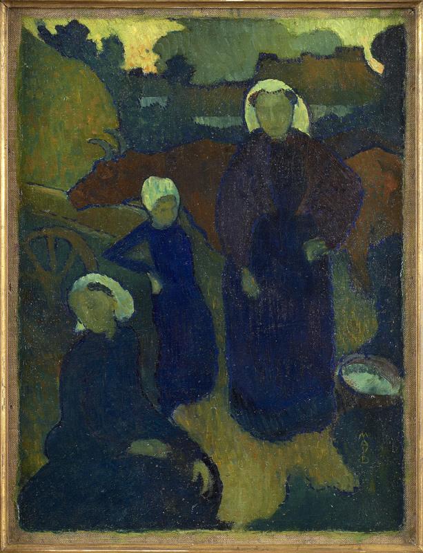 Maurice DENIS - Peinture - Les Bretonnes (recto) Etude pour un portrait d'homme (verso)