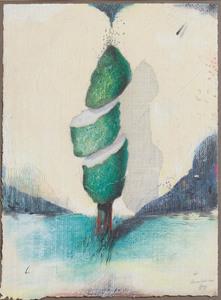 Maurilio MINUZZI - Zeichnung Aquarell - Baumstudie 140