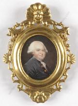 "Jean-Baptiste AUGUSTIN (Attrib.) - Miniatura -  ""Middle-aged aristocrat"", miniature on ivory"