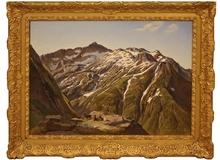 Jules Bertrand GÉLIBERT (1834-1916) - Vue des Pyrénées avec des isards