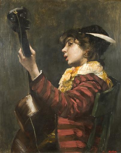 Norbert GOENEUTTE - Peinture - Young Boy Playing Guitar