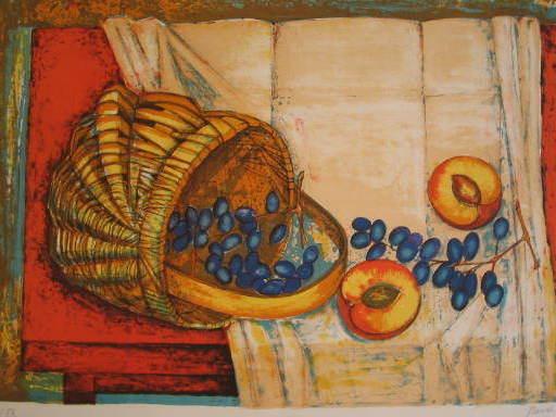 PIERRE-HENRY - Estampe-Multiple - Pêches et raisins,1984.
