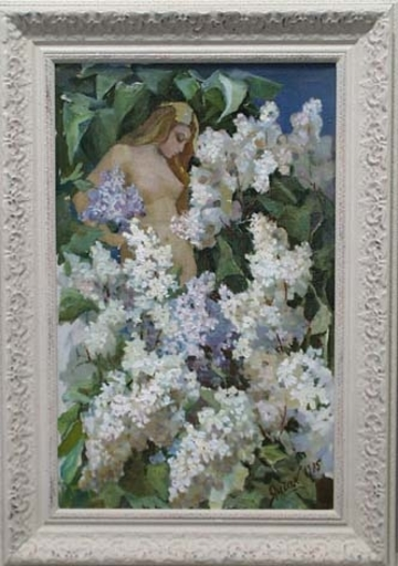 "Elena Vatslovana YANCHAK - Peinture - ""A Nude in Lilac Bush"", Oil Painting, 1965"