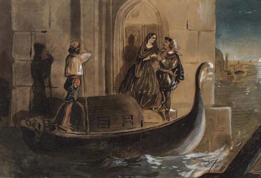 """Victor ODESCALCHI - Disegno Acquarello - """"Scene in Venice"""" by Prince Victor Odescalchi, ca 1850"""