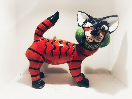 Jacky COVILLE - Ceramic - Chat rouge