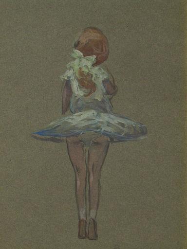 Bertrand Edouard DE CHAMPEAUX - Dibujo Acuarela - DANSEUSE - PETITE FILLE