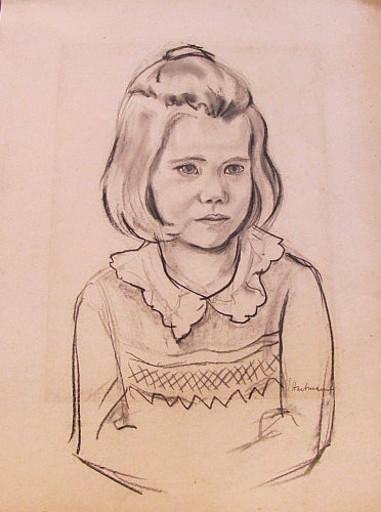Erich HARTMANN - Dessin-Aquarelle - #19913: Kleines Mädchen im Profil.