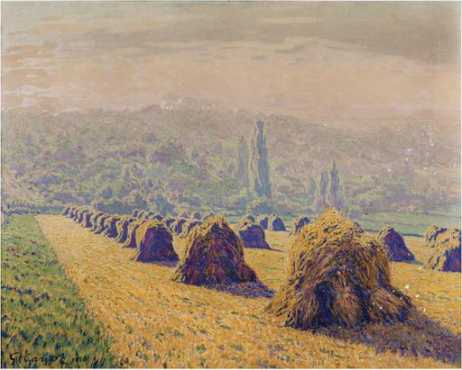 Gustave CARIOT - Pintura - Les meules, soir d'été