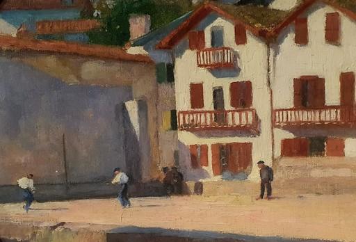 "Louis FLOUTIER - 绘画 - ""PARTIE DE PELOTE AU FRONTON DE CIBOURE"""