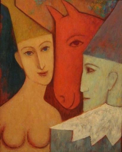 Ivanov GREGORY - Pintura - Clowns and Horse