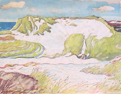 Paul MECHLEN - Drawing-Watercolor - Sylter Dünenlandschaft.