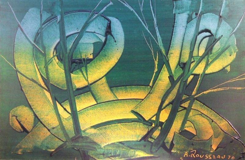 Albert ROUSSEAU - Peinture - Paysage onirique fantastique, 1970.