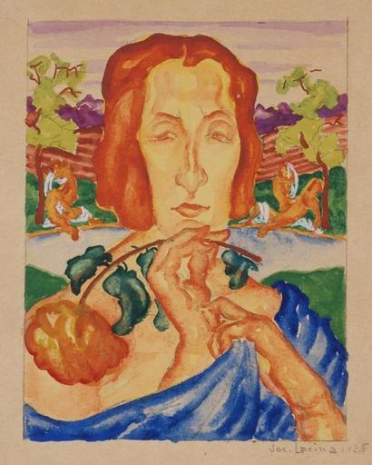 "Josef LACINA - Dibujo Acuarela -  ""Summer"" 1925, watercolor"