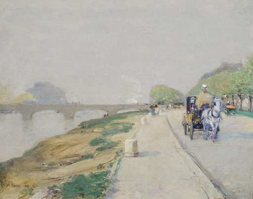 Childe HASSAM - Painting - Banks of the Seine