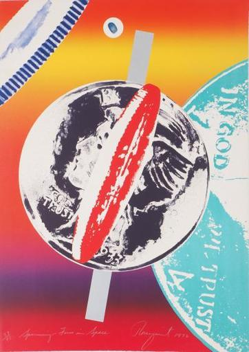 James ROSENQUIST - Grabado - Spinning Faces in Space