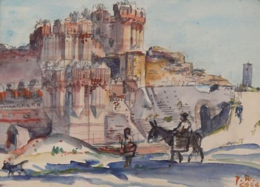 Paul WEISER - Drawing-Watercolor - Burg von Coca in Spanien