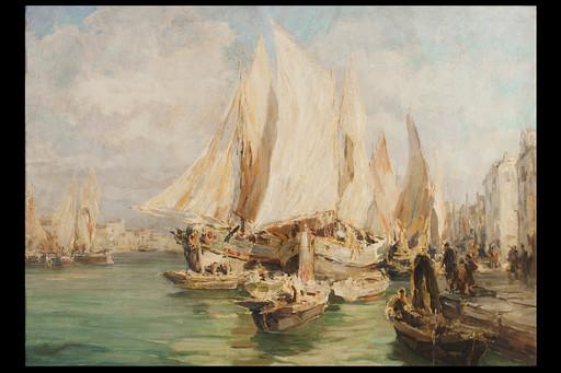 Angelo BROMBO - Peinture - Venezia, il Canale della Giudecca