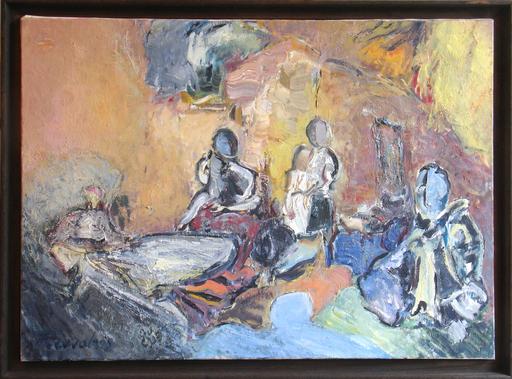 "Alkis PIERRAKOS - Pintura - L'auberge tzigane -""Le grand restaurant"""
