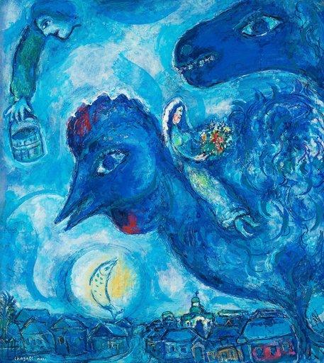 Marc CHAGALL - Dessin-Aquarelle - Le coq bleu ou Le rêve du village