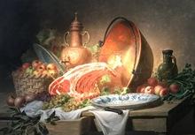 Charles DE NAEYER - Pintura - Stilleven van stuk zesrib-entrecote met platte rib