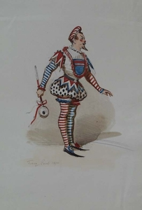 """Franz GAUL - Drawing-Watercolor - """"Jester"""" by Franz Gaul (1837-1907), watercolour"""