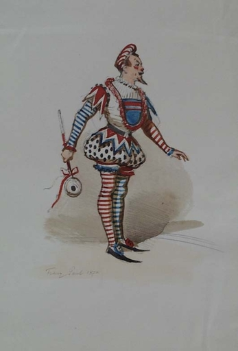 "Franz GAUL - Drawing-Watercolor - ""Jester"" by Franz Gaul (1837-1907), watercolour"