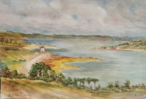 Alfred KELLER - Dibujo Acuarela - L'Aber Vrach - Finistère - (KP20)