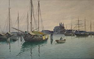 Eugenio BENVENUTI - Dibujo Acuarela - Trabaccoli alla Giudecca