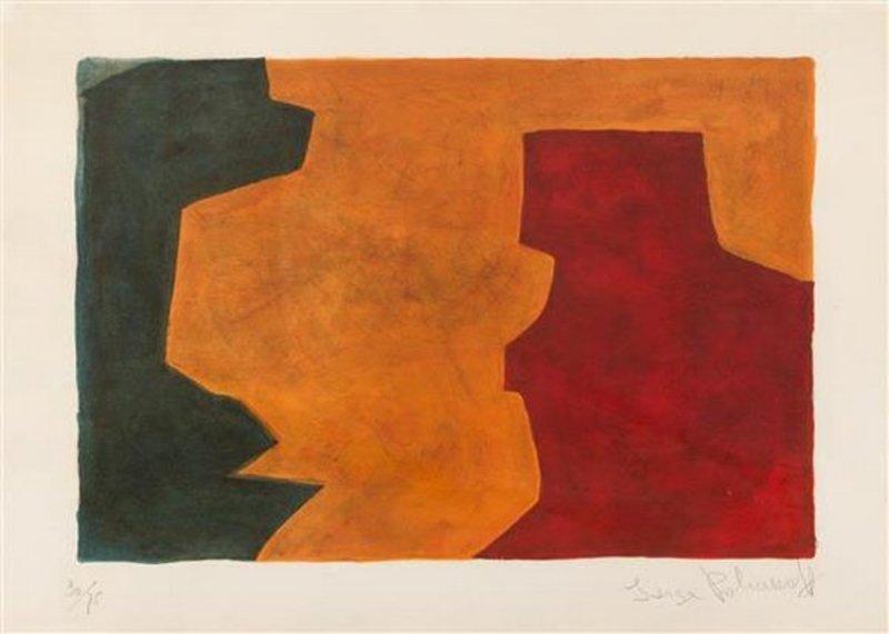 Serge POLIAKOFF - Print-Multiple - Composition verte, orange et lie-de-vin