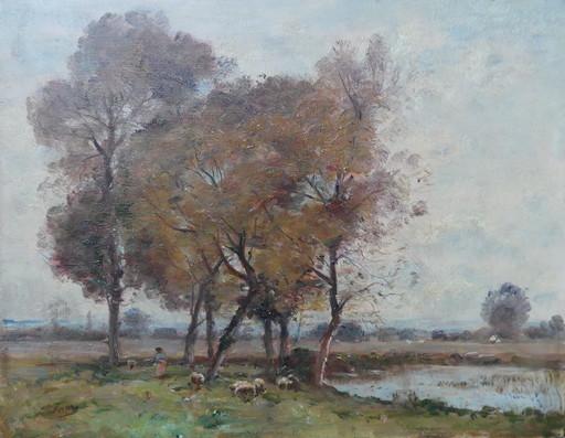 Louis Aimé JAPY - Peinture - Paysage au troupeau