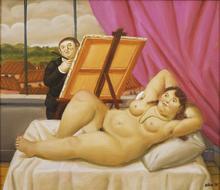 Fernando BOTERO - Peinture - Painter and Model