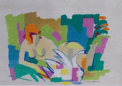 Jean CHEVOLLEAU - Dibujo Acuarela - Le cygne