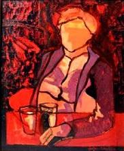 Jef FRIBOULET - Peinture - Homme au Salon Rouge