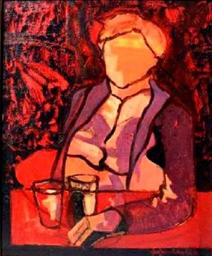 Jef FRIBOULET - Pintura - Homme au Salon Rouge