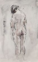Abel BERTRAM - Drawing-Watercolor - Nu de dos