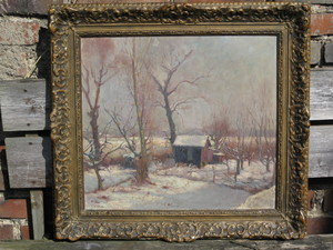 Edgard WIETHASE - 绘画 - Winterlandschaft mit Hütte