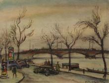 """Ernst Michael WAGNER - Dibujo Acuarela - """"Seine Quay in Paris"""", 1940s"""