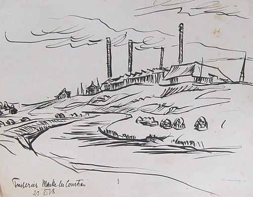 Erich HARTMANN - Disegno Acquarello - #19873: Fabrik hinter Fluß.