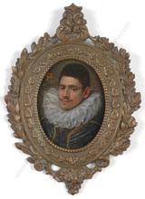 "Francesco PACHECO (Attrib.) - Miniature - ""Portrait of a nobleman"", important oil miniature, ca.1600"