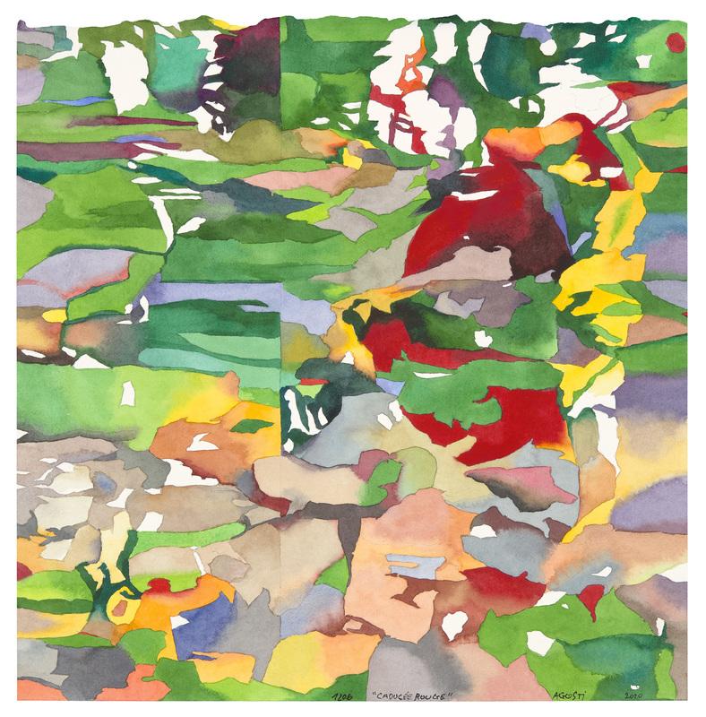 Jean-Paul AGOSTI - Dessin-Aquarelle - Caducée rouge
