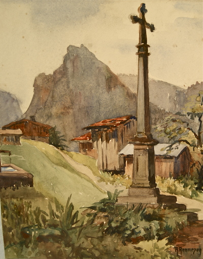 R. RENNESON - Dibujo Acuarela - Croix de village et chalets en montagne.