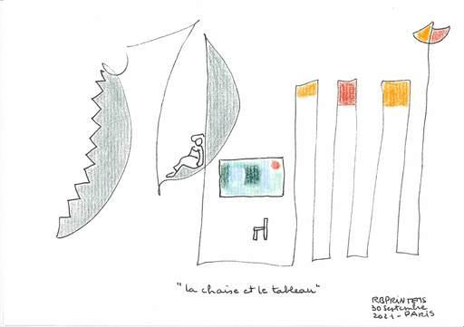 """Reine BUD-PRINTEMS - Zeichnung Aquarell - """"La chaise et le tableau"""""""