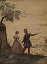 "Victor BELANYI - Drawing-Watercolor - ""Walk"" by Viktor Belanyi"
