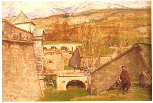 Henri Émilien ROUSSEAU - Pintura - Anciennes Fortifications la Citadelle d'Embrun