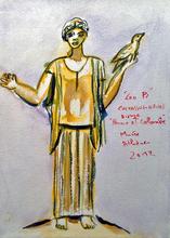 Jean-Pierre CHEVASSUS-AGNES - Drawing-Watercolor - Femme et colombe,  bronze Musée National Athènes