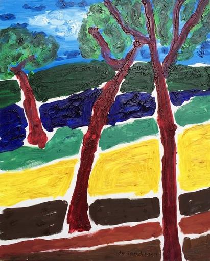 Christian DURIAUD - Pintura - 3 arbres rouges